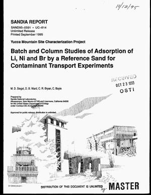 Primary view of object titled 'Batch and column studies of adsorption of Li, Ni and Br by a reference sand for contaminant transport experiments'.