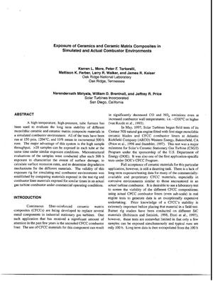Primary view of object titled 'Exposure of Ceramics and Ceramic Matrix Composites in Simulated and Actual Combustor Environments'.
