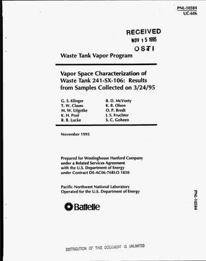Primary view of object titled 'Vapor space characterization of waste Tank 241-SX-106: Results from samples collected on 3/24/95'.