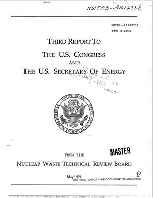 Primary view of Third report to the US Congress and the US Secretary of Energy