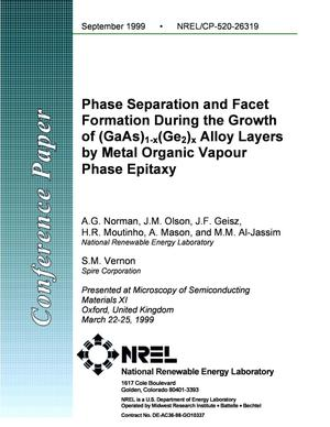 Primary view of object titled 'Phase Separation and Facet Formation during the Growth of (GaAs)1-x(Ge2)x Alloy Layers by Metal Organic Vapour Phase Epitaxy'.