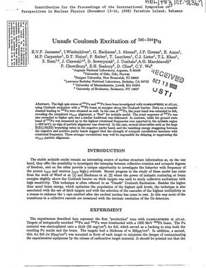 Primary view of object titled 'Unsafe Coulomb excitation of {sup 240-244}Pu.'.
