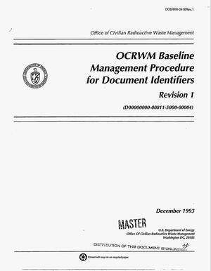 Primary view of object titled 'OCRWM Baseline Management procedure for document indentifiers; Revision 1'.