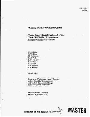 Primary view of object titled 'Vapor space characterization of Waste Tank 241-TY-104: Results from samples collected on 4/27/95'.