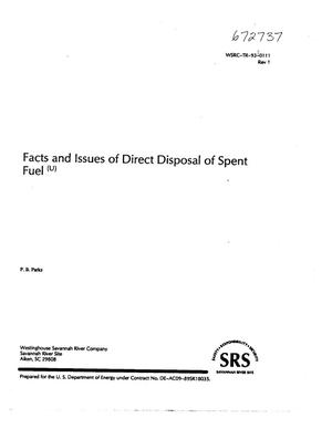 Primary view of object titled 'Facts and issues of direct disposal of spent fuel; Revision 1'.