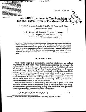 Primary view of object titled 'An AGS experiment to test bunching for the proton driver of the muon collider.'.