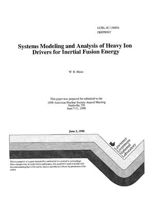 Primary view of object titled 'Systems modeling and analysis of heavy ion drivers for inertial fusion energy'.
