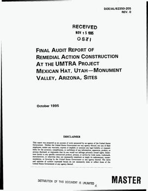 Primary view of object titled 'Final audit report of remedial action construction at the UMTRA Project Mexican Hat, Utah -- Monument Valley, Arizona, sites'.