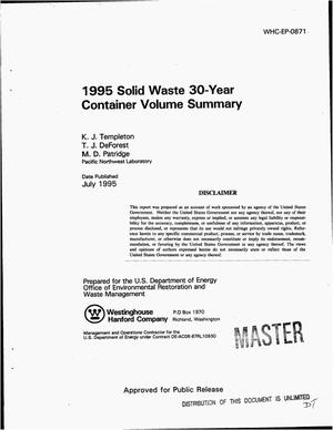 Primary view of object titled '1995 solid waste 30-year container volume summary'.