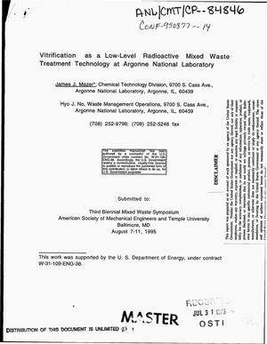 Primary view of object titled 'Vitrification as a low-level radioactive mixed waste treatment technology at Argonne National Laboratory'.