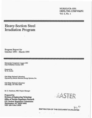 Primary view of object titled 'Heavy-section steel irradiation program. Progress report, October 1994--March 1995'.