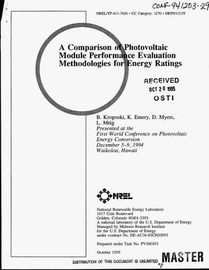 Primary view of object titled 'A comparison of photovoltaic module performance evaluation methodologies for energy ratings'.
