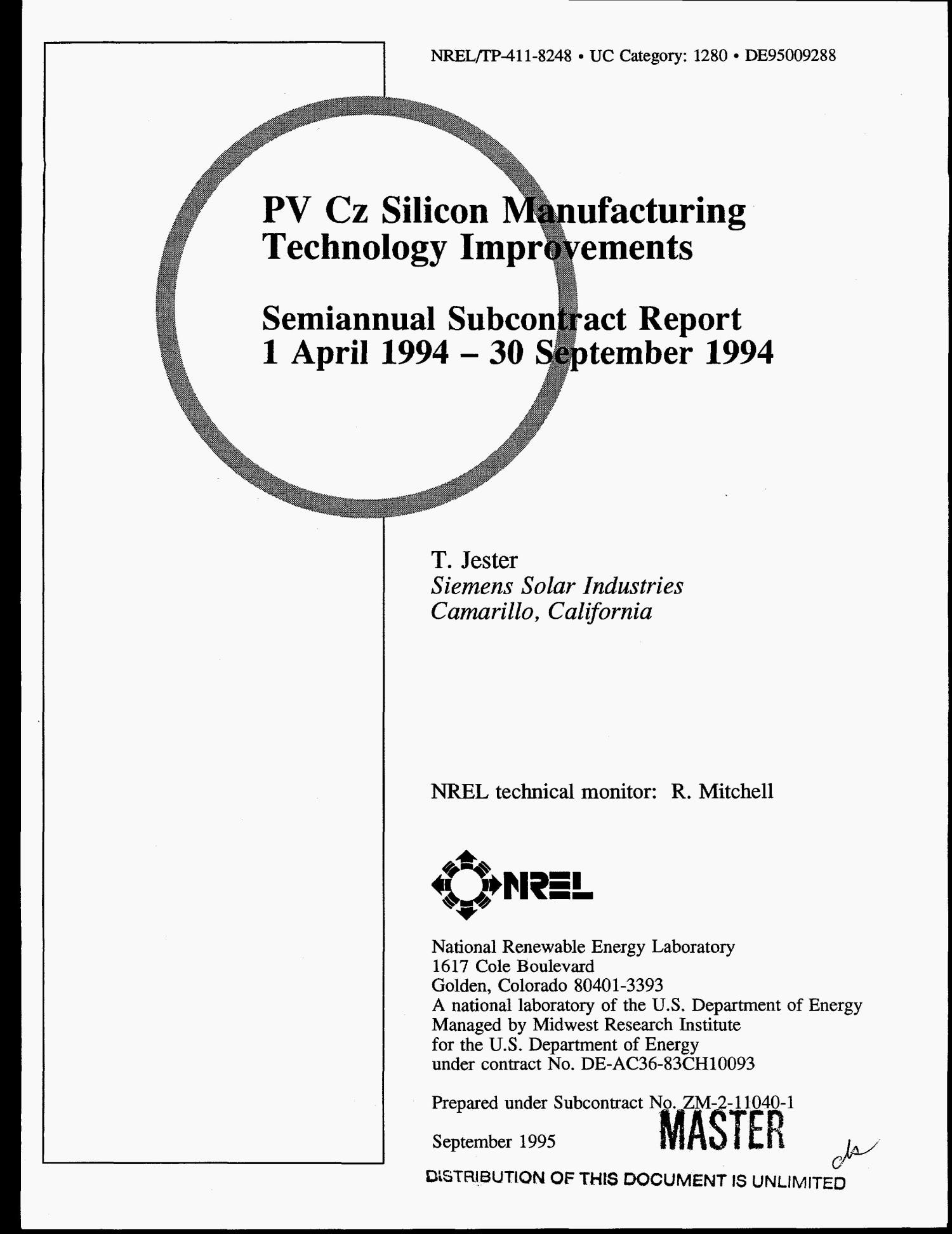 PV Cz silicon manufacturing technology improvements. Semiannual subcontract report, 1 April 1994--30 September 1994                                                                                                      [Sequence #]: 1 of 18