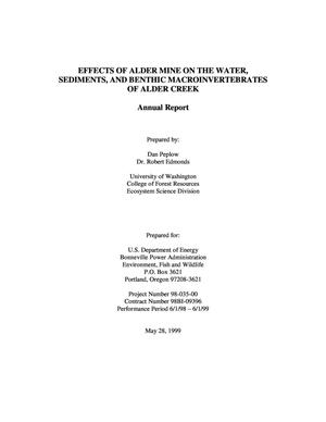 Primary view of object titled 'Effects of Alder Mine on the Water, Sediments, and Benthic Macroinvertebrates of Alder Creek, 1998 Annual Report.'.