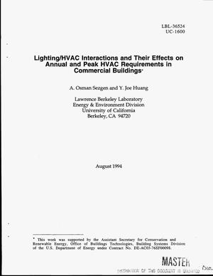 Primary view of object titled 'Lighting/HVAC interactions and their effects on annual and peak HVAC requirements in commercial buildings'.