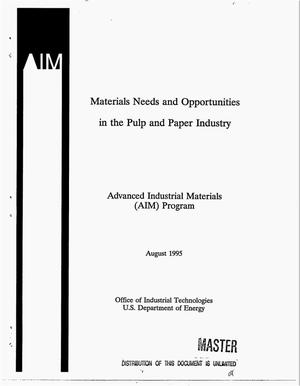 Primary view of object titled 'Materials needs and opportunities in the pulp and paper industry'.