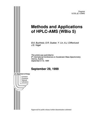 Primary view of object titled 'Methods and applications of HPLC-AMS (WBio 5)'.