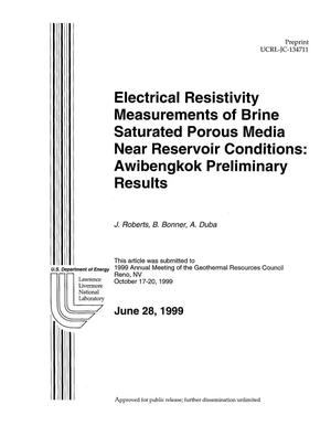 Primary view of object titled 'Electrical resistivity measurements of brine saturated porous media near reservoir conditions: Awibengkok preliminary results'.