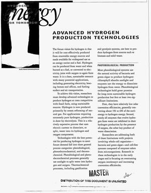 Primary view of object titled 'Hydrogen energy for tomorrow: Advanced hydrogen production technologies'.