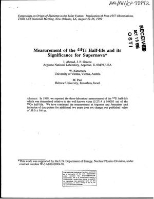 Primary view of object titled 'Measurement of the {sup 44}Ti half-life and its significance for supernova.'.
