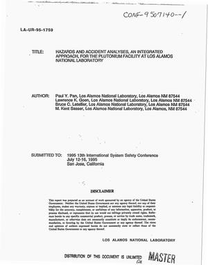 Primary view of object titled 'Hazards and accident analyses, an integrated approach, for the Plutonium Facility at Los Alamos National Laboratory'.