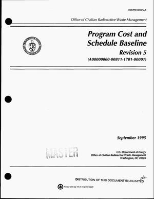 Primary view of object titled 'Program cost and schedule baseline. Revision 5, (A00000000-00811-1701-00001)'.