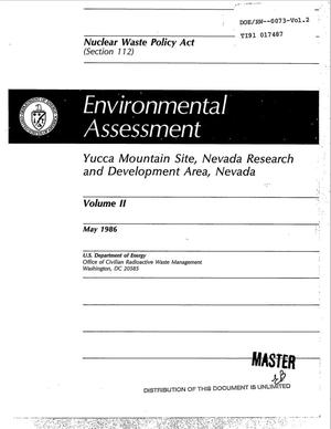 Primary view of object titled 'Environmental assessment: Yucca Mountain Site, Nevada Research and Development Area, Nevada; Volume 2'.