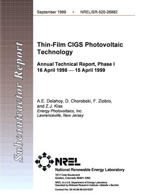Primary view of object titled 'Thin-Film CIGS Photovoltaic Technology; Annual Technical Report, Phase I; 16 April 1998 - 15 April 1999'.