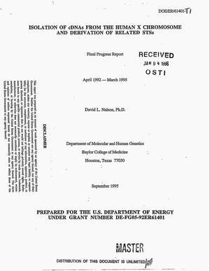 Primary view of object titled 'Isolation of cDNAs from the human X chromosome and derivation of related STSs. Final progress report, April 1992--March 1995'.