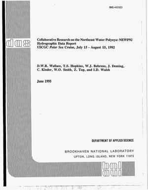 Primary view of object titled 'Collaborative research on the Northeast Water Polynya: NEWP92 hydrographic data report. USCGC Polar Sea cruise, July 15--August 15, 1992'.