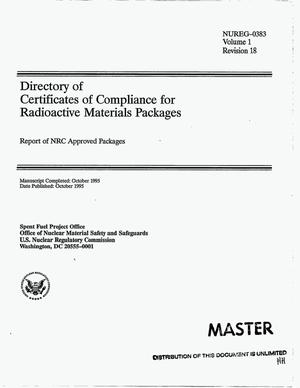 Primary view of object titled 'Directory of Certificates of Compliance for radioactive materials packages: Report of NRC approved packages. Volume 1, Revision 18'.