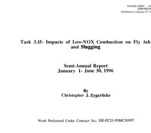 Primary view of object titled 'Task 3.15 - Impacts of Low-N0x Combustion on Fly Ash and Slagging'.