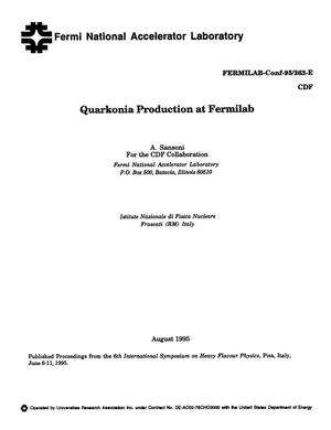 Primary view of object titled 'Quarkonia production at Fermilab'.