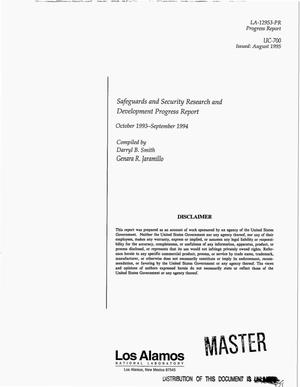 Primary view of object titled 'Safeguards and security research and development progress report, October 1993--September 1994'.