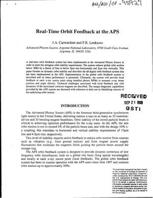 Primary view of object titled 'Real-time orbit feedback at the APS.'.