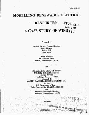 Primary view of object titled 'Modelling renewable electric resources: A case study of wind'.