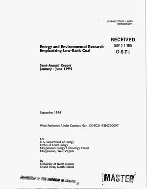 Primary view of object titled 'Energy and environmental research emphasizing low-rank coal. Semi-annual report, January--June 1994'.