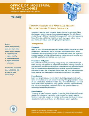 Primary view of object titled 'Training Sessions and Materials Present Ways to Improve System Efficiency: OIT Technical Assistance Fact Sheet: Training'.