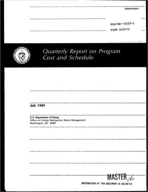 Primary view of object titled 'Quarterly report on program cost and schedule'.