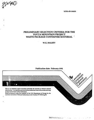 Primary view of object titled 'Preliminary selection criteria for the Yucca Mountain Project waste package container material'.