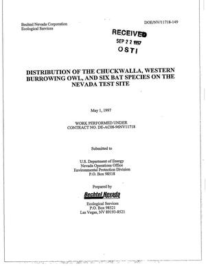 Primary view of object titled 'Distribution of the Chuckwalla, Western Burrowing Owl, and Six Bat Species on the Nevada Test Site'.