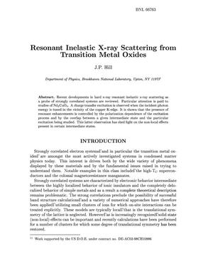 Primary view of object titled 'RESONANT INELASTIC X-RAY SCATTERING FROM TRANSITION METAL OXIDES.'.