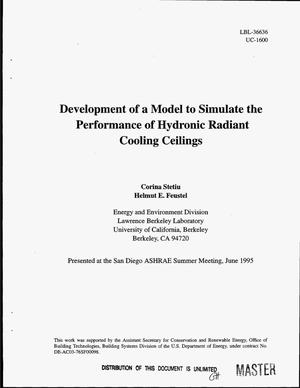 Primary view of object titled 'Development of a model to simulate the performance of hydronic radiant cooling ceilings'.