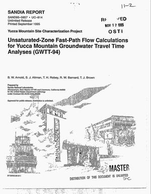 Primary view of object titled 'Unsaturated-zone fast-path flow calculations for Yucca Mountain groundwater travel time analyses (GWTT-94)'.