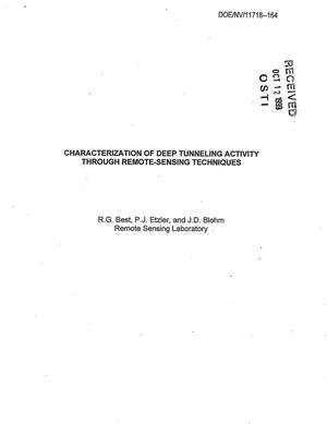 Primary view of object titled 'Characterization of Deep Tunneling Activity through Remote-Sensing Techniques'.
