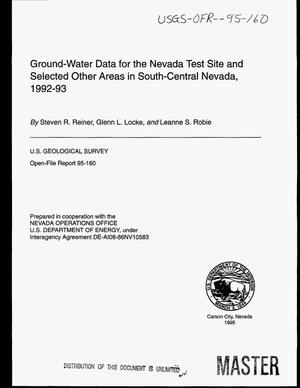 Primary view of object titled 'Ground-water data for the Nevada Test Site and selected other areas in South-Central Nevada, 1992--1993'.