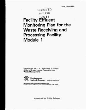 Primary view of object titled 'Facility effluent monitoring plan for the Waste Receiving and Processing Facility Module 1'.
