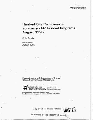 Primary view of object titled 'Hanford site performance summary: EM funded programs August 1995'.