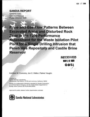 Primary view of object titled 'Brine and Gas Flow Patterns Between Excavated Areas and Disturbed Rock Zone in the 1996 Performance Assessment for the Waste Isolation Pilot Plant for a Single Drilling Intrusion that Penetrates Repository and Castile Brine Reservoir'.
