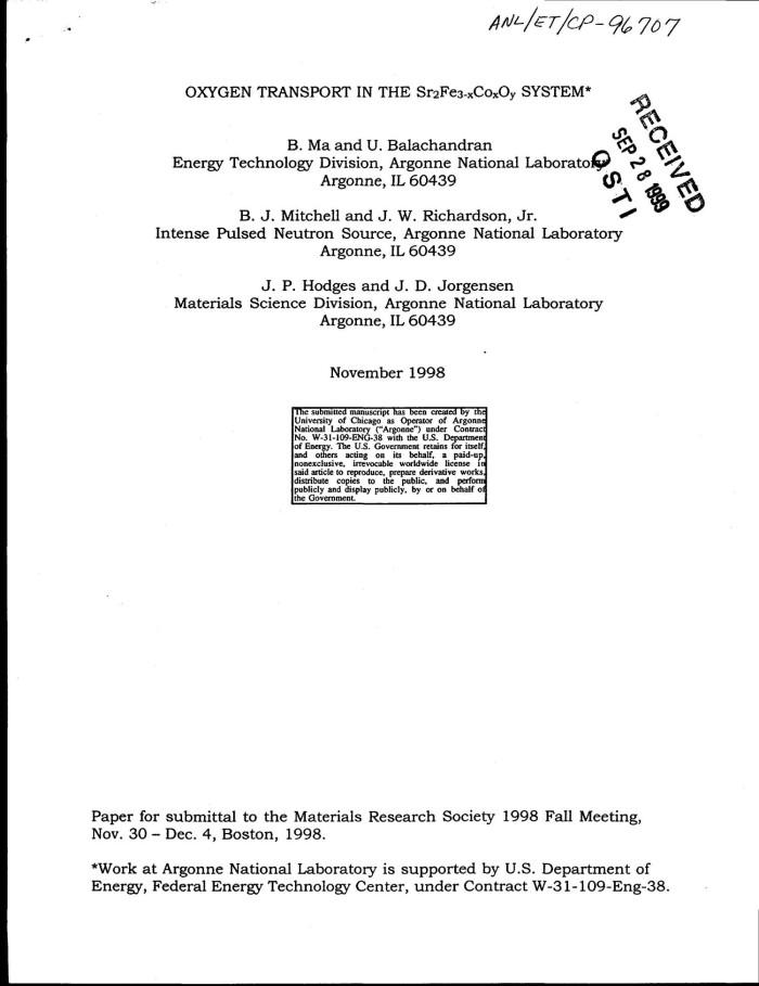 Oxygen Transport In The Sr Sub 2 Fe 3 Minus X Co O